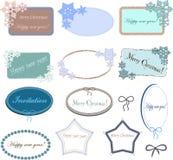 Satz ovale und rechteckige Rahmen mit Schneeflocken für Weihnachts- oder des neuen Jahresdesign stock abbildung