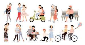 Satz Paare in der Liebe Verschiedene romantische Situationen, die, sprechend, Radfahren gehen und umarmen, Heiratantrag, Tanz, Fa stock abbildung