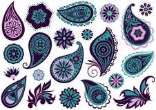 Satz Paisley und Blumen Lizenzfreie Stockfotos