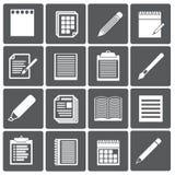 Satz Papierdokumente und Bleistiftikonen Lizenzfreie Stockbilder