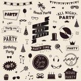 Satz Parteiikonen Vector Zeichen und Symbolschablonen für Ihr Design Stockfotos