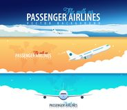 Satz Passagier-Fluglinienfahnen Bewölkt Himmelhintergrund mit Flugzeug Auch im corel abgehobenen Betrag stock abbildung