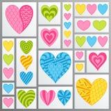 Satz Pastellsymbole flach blau, grüne, rosa, gelbe Herzen in L Lizenzfreie Stockbilder