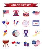 Satz patriotischen Ikonen Unabhängigkeitstags von Amerika 4. Juli Sammlung Gestaltungselemente, lokalisiert auf weißem Hintergrun Lizenzfreie Stockfotos