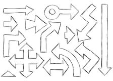 Satz Pfeil-Gekritzel Stockbilder