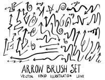Satz Pfeilbürstenillustration der Hand gezeichneten Skizzenlinie ep Stockfotografie
