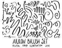 Satz Pfeilbürstenillustration der Hand gezeichneten Skizzenlinie ep Stockfotos