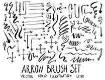 Satz Pfeilbürstenillustration der Hand gezeichneten Skizzenlinie ep Lizenzfreie Stockfotos
