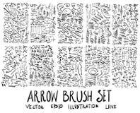 Satz Pfeilbürstenillustration der Hand gezeichneten Skizzenlinie ep Lizenzfreie Stockfotografie
