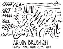 Satz Pfeilbürstenillustration der Hand gezeichneten Skizzenlinie Vektor ep Lizenzfreie Stockfotografie