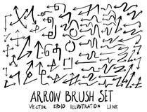 Satz Pfeilbürstenillustration der Hand gezeichneten Skizzenlinie Vektor ep Lizenzfreie Stockfotos