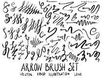 Satz Pfeilbürstenillustration der Hand gezeichneten Skizzenlinie Vektor ep Stockfotografie