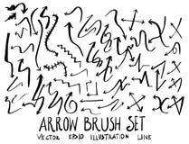 Satz Pfeilbürstenillustration der Hand gezeichneten Skizzenlinie Vektor ep Stockfoto