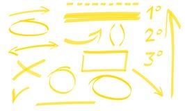 Satz Pfeile, Kreise und Unterstreichen Stockfoto