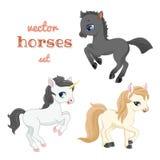 Satz Pferde in der Aktion Stockfotografie
