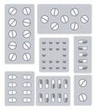 Satz Pillen, Tabletten und Kapseln in den Blasen stock abbildung