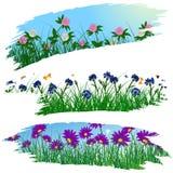 Satz Pinselstrichblumenrahmen Lizenzfreies Stockbild