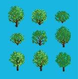 Satz Pixelbäume Stockfotos