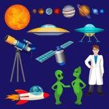 Satz Planeten, Wissenschaftler, fliegende Rakete, sprechende Ausländer, Teleskopvektor stock abbildung