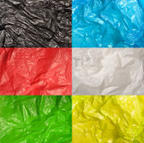 Satz Plastiktaschebeschaffenheiten Lizenzfreie Stockbilder