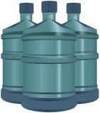 Satz Plastikwasserflaschen Stockfoto