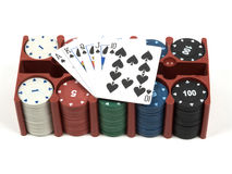 Satz Poker und Spielkarten Stockfoto