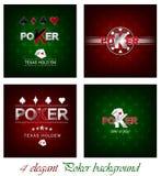 Satz Pokerhintergrund mit Kartensymbol Lizenzfreie Stockbilder