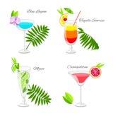 Satz populäre Cocktails verziert mit Frucht Scheiben und tropica stock abbildung