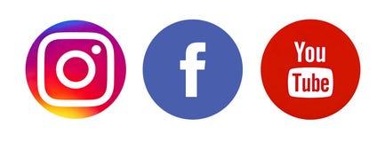 Satz populäre Social Media-Logos stock abbildung