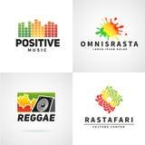 Satz positives Afrika-ephiopia Flaggen-Logodesign Lizenzfreie Stockfotografie