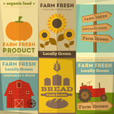Satz Poster für Biohof-Lebensmittel Stockfotos