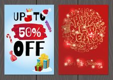Satz Poster oder Flieger für Weihnachten und Verkäufe und Förderungen des neuen Jahres Stockfoto