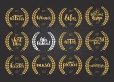 Satz Preise für besten Film, Schauspieler, das Bild, belebt, Kostümdesign, Schauspielerin, Direktor, Musik und Sieger für Filmfes Stockfotografie