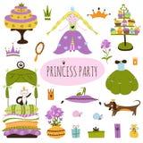 Satz Prinzessin Party Lizenzfreies Stockfoto