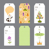 Satz Prinzessin Party Tags Stockbild