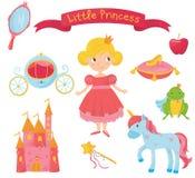 Satz Prinzessineinzelteile Mädchen im Kleid, Griffspiegel, Wagen, Apfel, Froschprinz, Schuh auf Kissen, Schloss, magischer Stab Lizenzfreies Stockbild