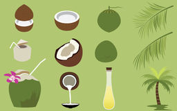 Satz Produkte der Kokosnuss-tropischen Frucht Stockbilder