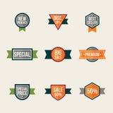 Satz Promo-Aufkleber Lokalisierte Verkaufsdichtungen und -aufkleber lizenzfreie abbildung