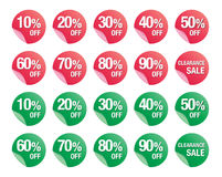 Satz Prozente rechnen Zeichenikonen, Verkaufssymbol, Verkaufsvektor ab Stockbilder
