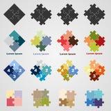 Satz Puzzlespielsymbole, Illustration Stockfotografie