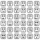 Satz quadratische Emoticons Stock Abbildung
