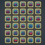 Satz quadratische Knöpfe mit Steinelementen und Symbolen für Netzschnittstellen- und -computerspiele Lizenzfreie Stockbilder
