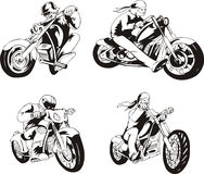 Satz Radfahrer Stockfotos