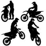 Satz Radfahrermotocrossschattenbilder, Vektorillustration vektor abbildung