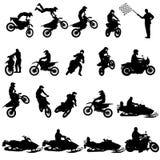 Satz Radfahrermotocrossschattenbilder, Vektorillustration lizenzfreie abbildung