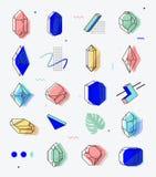 Satz Raum wendet Kristalle mit geometrischen Formen ein Stockbild