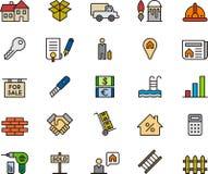 Satz Real Estate-Ikonen oder -symbole Stockbilder