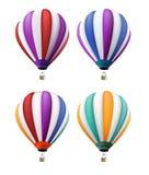 Satz realistische bunte Heißluft steigt Fliegen im Ballon auf Lizenzfreie Stockfotografie