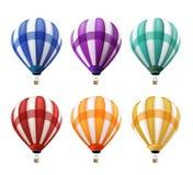 Satz realistische bunte Heißluft steigt Fliegen im Ballon auf Stockfotos