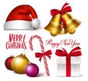 Satz realistische Gegenstände, Symbole und Dekorationen des Weihnachten3d Lizenzfreie Stockbilder